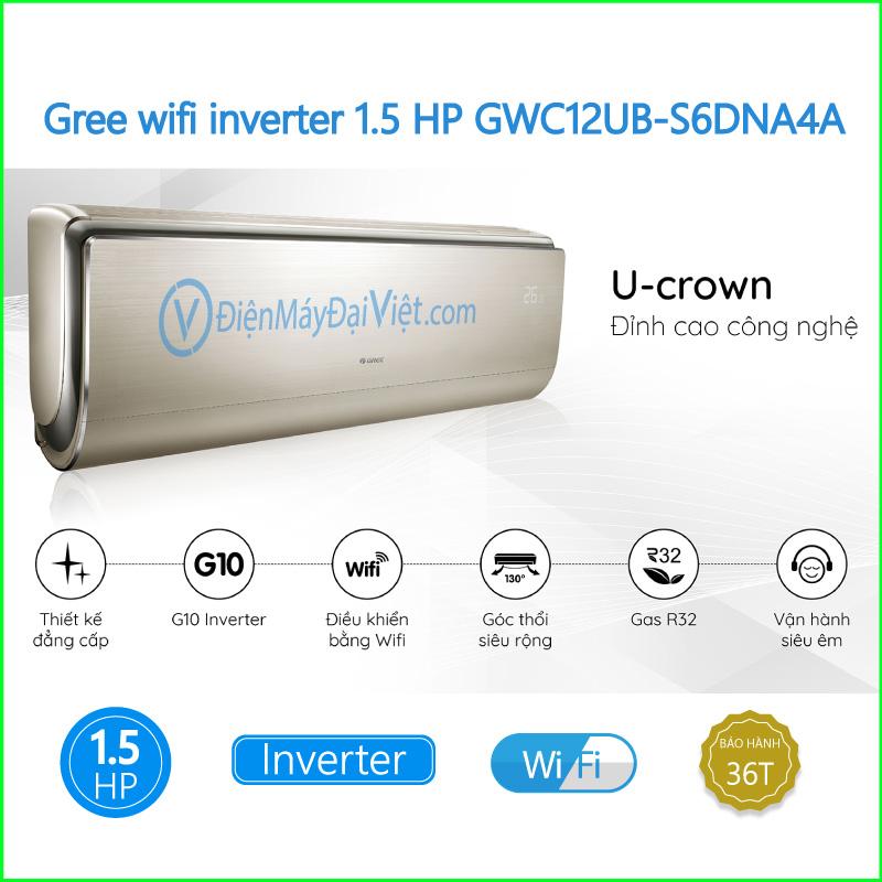 Máy lạnh Gree wifi inverter 1.5 HP GWC12UB S6DNA4A 3