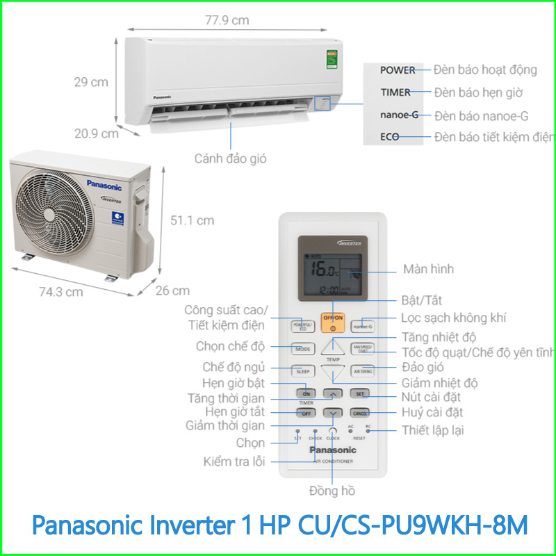 Máy lạnh Panasonic Inverter 1 HP CUCS PU9WKH 8M 2