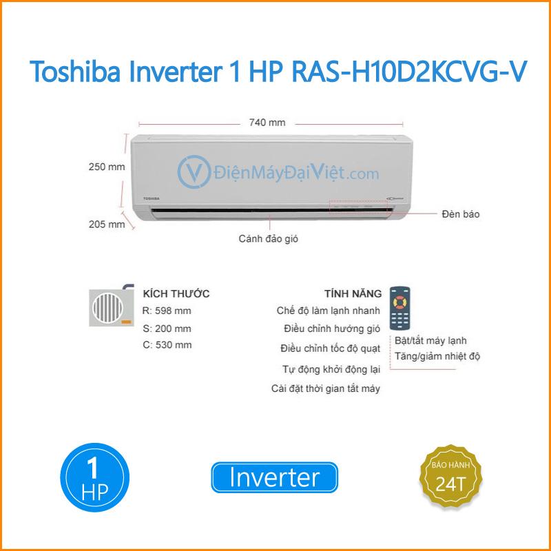 Máy lạnh Toshiba Inverter 1 HP RAS H10D2KCVG V Dien May Dai Viet 2