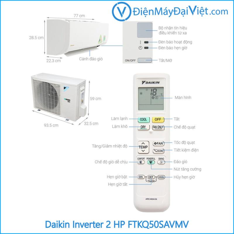 Phụ kiện Máy lạnh Daikin Inverter 2 HP FTKQ50SAVMV Điện Máy Đại Việt