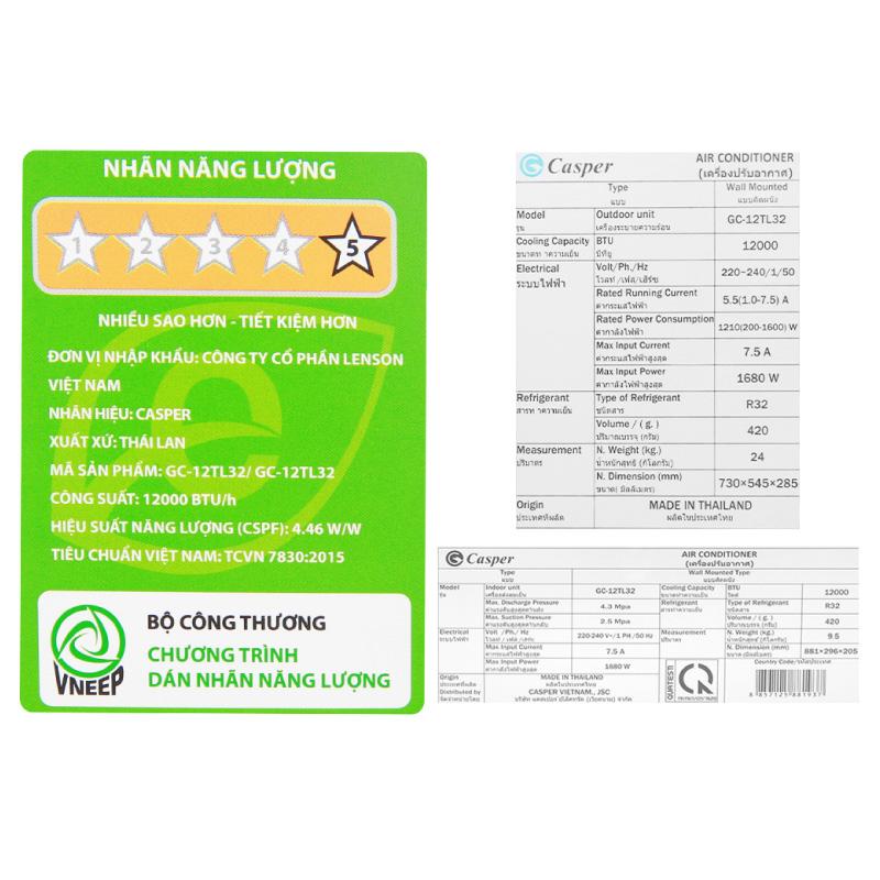 May Lanh Casper 1.5HP GC 12TL32 INVERTER Chinh Hang 4