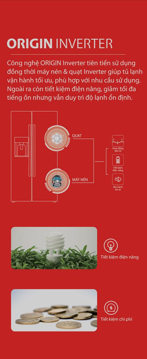 Cong nghe inverter Tu lanh Toshiba Inverter 493 Lit GR RS637WE PMV06