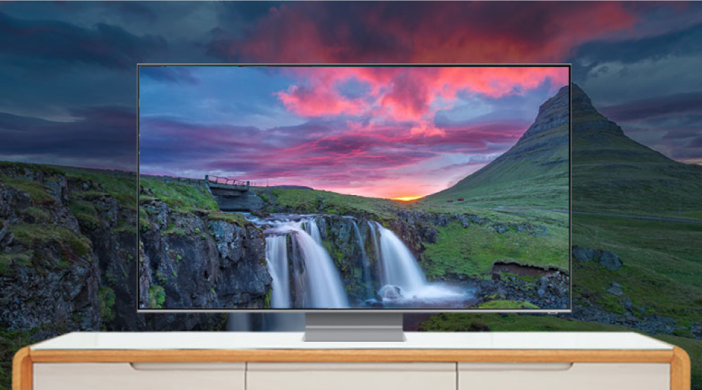 Smart Tivi Samsung 8K 75 65 inch thiet ke tran vien